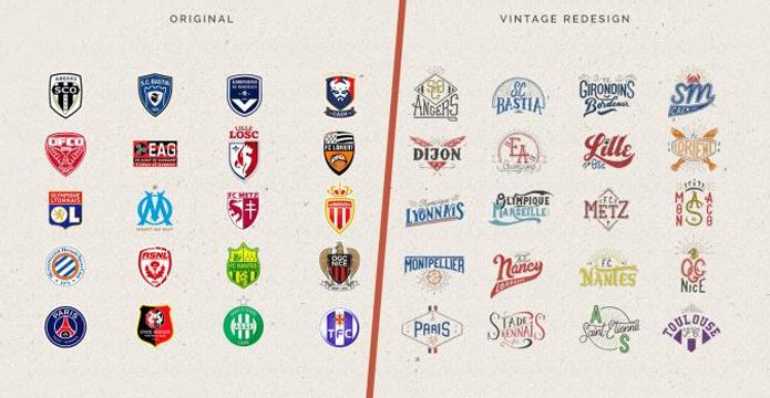 BLOG: E se os escudos dos times do Campeonato Francês fossem logos antigas?