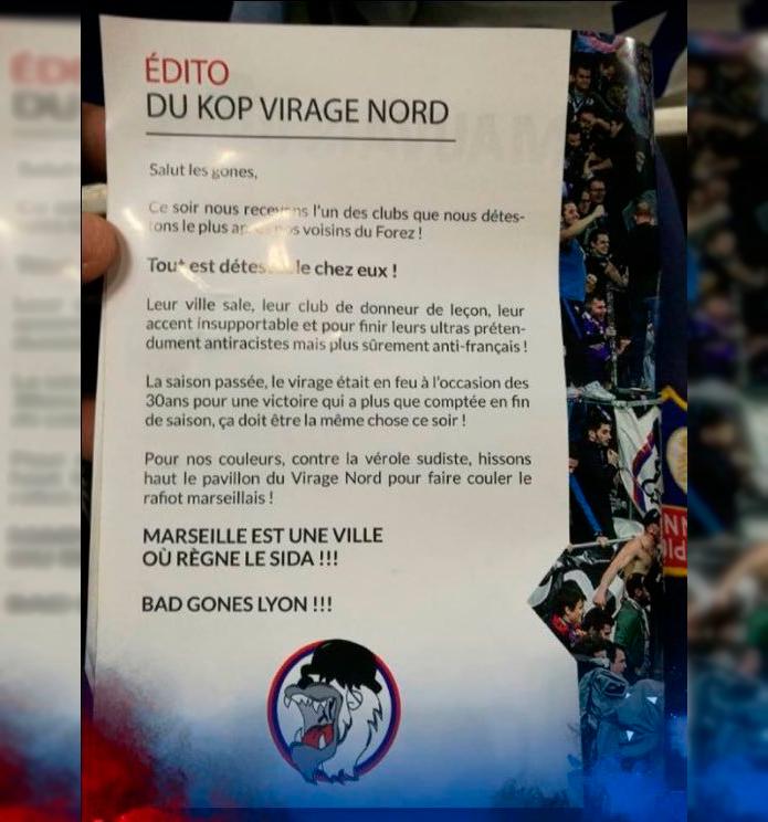 BLOG: Panfleto preconceituoso da torcida do Lyon causa polêmica na França