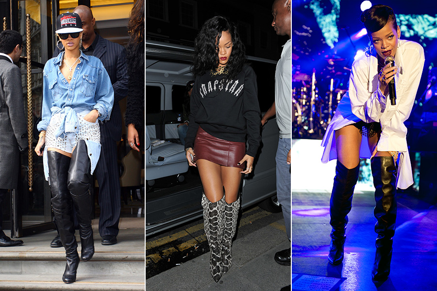 d1e8daa014 Ousada, Rihanna é adepta de botas de cano alto (tanto pretas quanto em  couros