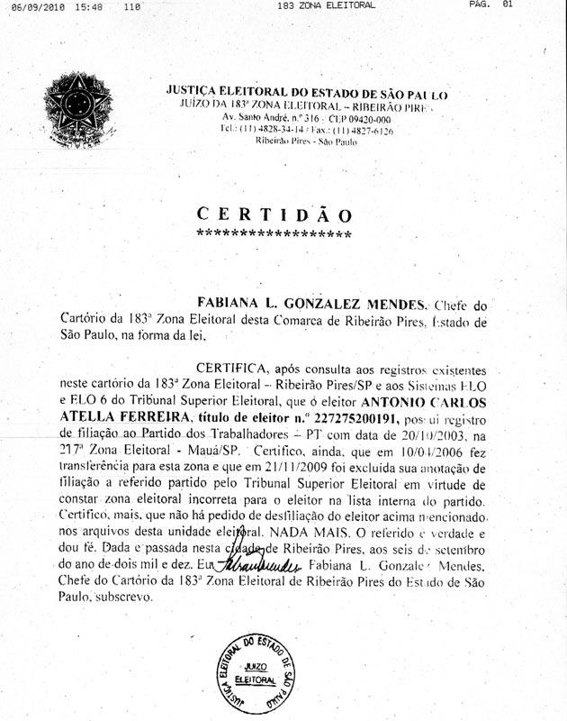 Certidão enviada pelo TRE-SP sobre a filiação partidária de Antonio Carlos Atella Ferreira