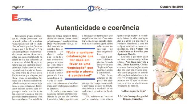 "Editorial da ""Folha Diocesana"", de Guarulhos"