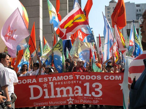 Militância de diversos partidos participaram do ato pró-Dilma no centro de São Paulo