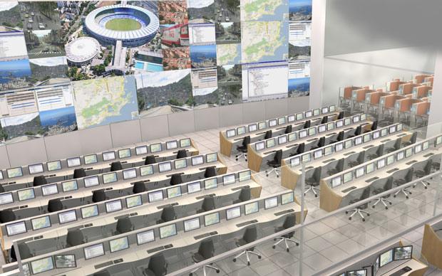 Maquete mostra espaço de monitoramento do centro de integração que está em construção no Rio