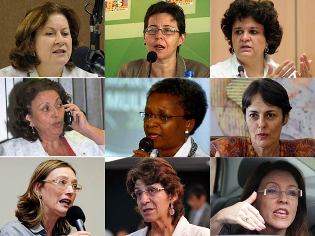 Miriam Belchior, Tereza Campello, Izabella Teixeira, Ideli Salvati, Luiza de Bairros, Ana de Hollanda, Maria do Rosário, Iriny Lopes e Helena Chagas são as mulheres escolhidas por Dilma para o primeiro escalão