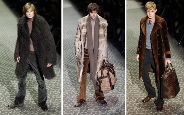 6617e63668a57 ... na Semana de Moda de Milão. Propostas de inspiração setentista da Gucci  para o inverno 2011.