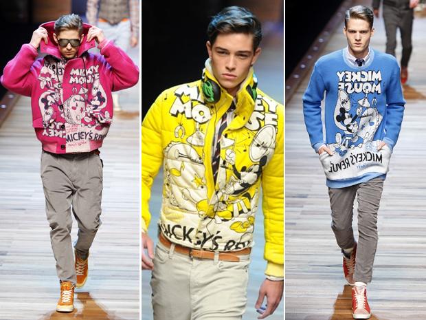 dfafb6a9a2b9f Mickey Mouse e ícones pop inspiram coleção na Semana de Moda de Milão. Grife  de moda masculina ...