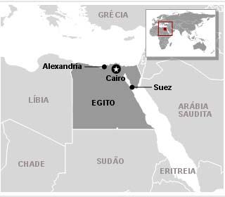 Mapa do Egito mostra as cidades em que ocorreram os principais protestos