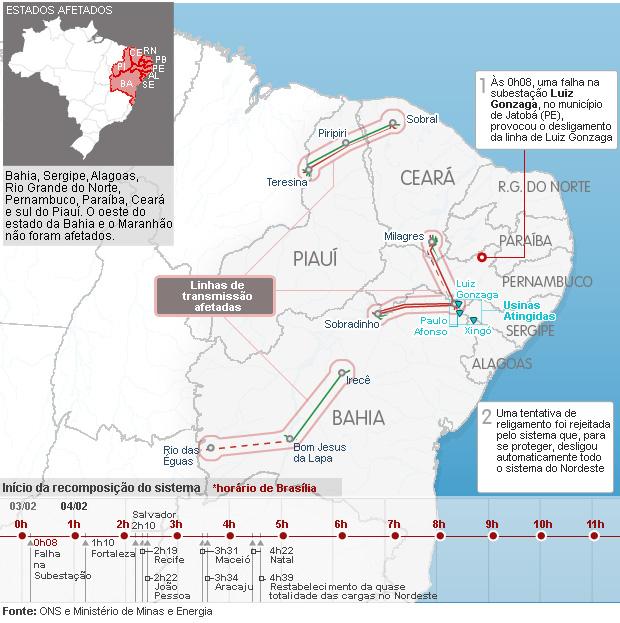 Mapa das linhas de transmissão afetadas (Foto: Editoria de Arte/G1)