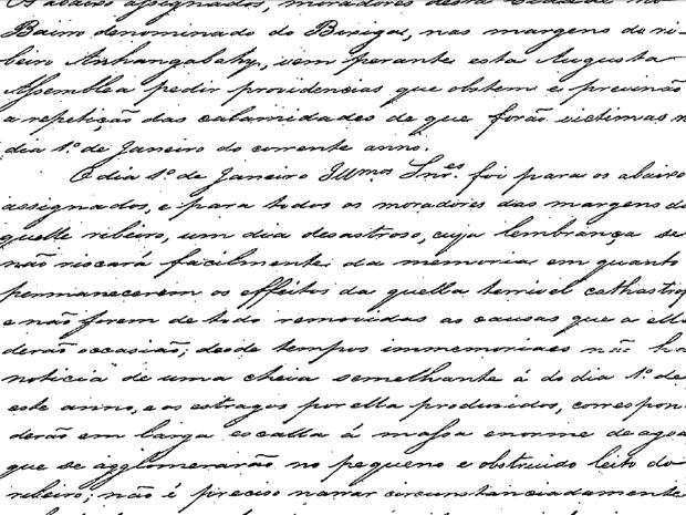 Documento de 1850 pede providências contra rios que sobem em época de chuva (Foto: Reprodução)