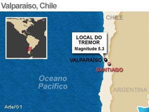 mapa terremoto valparaiso 16/3 (Foto: Arte G1)