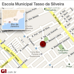 Mapa da escola Tasso da Silveira, em Realengo (Foto: Arte/G1)