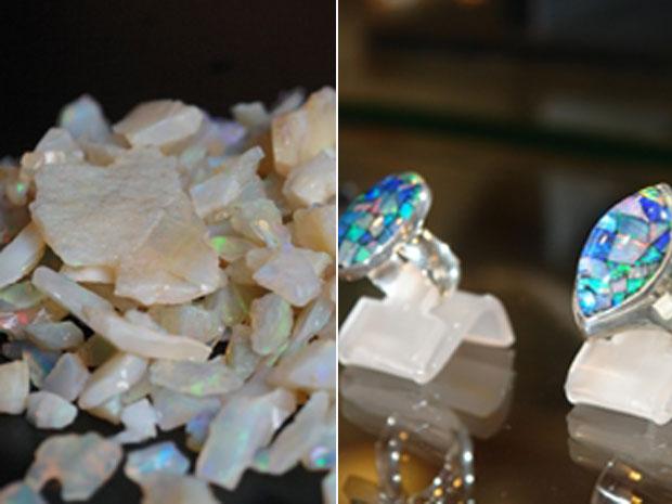 Opala bruta (E) e anéis feitos com a pedra, em Pedro II. (Foto: Carlos Augusto Ferreira Lima/Sebrae)