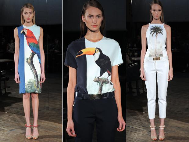 9f732a437 Criações do estilista Pedro Lourenço inspiradas nas telas tropicais da  artista Lelli Orleans e Bragança.