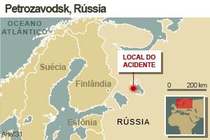 Mapa mostra local do acidente (Foto: Editoria de Arte / G1)