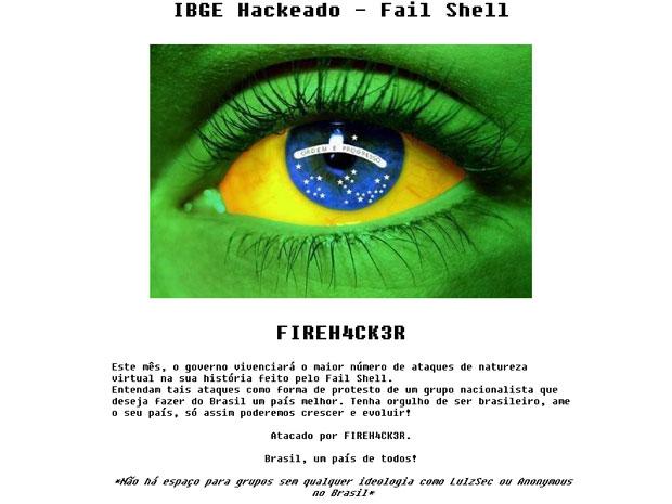 Hackers se identificam como grupo nacionalista em mensagem deixada no site. (Foto: Reprodução)