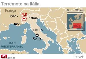 mapa turim G1   Terremoto abala o norte da Itália   notícias em Mundo mapa turim