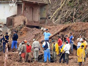 Área atingida por chuvas na Região Serrana do Rio de Janeiro