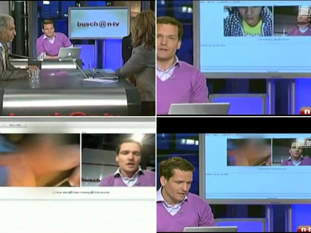 Em abril de 2010, durante um vídeo-chat ao vivo da emissora alemã 'N-TV', a imagem de um jovem se masturbando acabou indo ao ar. Em seguida, a cena foi cortada, mas os apresentadores pareciam visivelmente constrangidos com o incidente.   Foto: Reprodução
