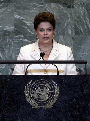 A presidente Dilma Rousseff, durante discurso sobre energia nuclear, na Reunião de Alto Nível sobre Segurança Nuclear da ONU. (Foto: AP)