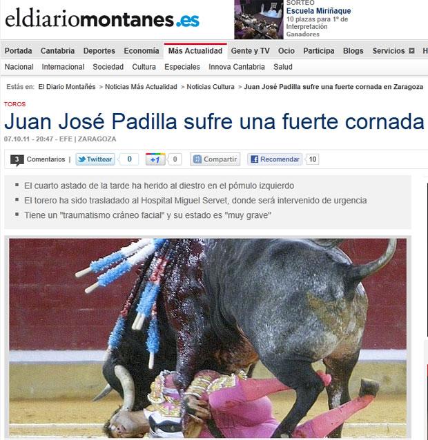 Fotógrafo flagrou o momento em que Padilla sofreu o grave ferimento (Foto: Reprodução/El Diario Montanés)