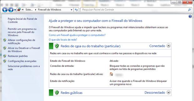 Configuração do firewall embutido no Windows 7 (Foto: Reprodução)