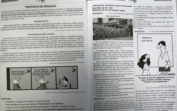 Prova do Enem exigiu muita leitura, segundo os professores (Foto: G1)