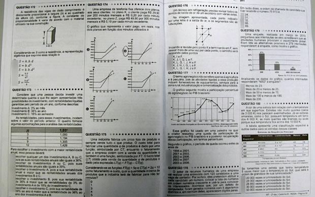 Prova de matemática teve muitas representações em gráficos e tabelas (Foto: G1)