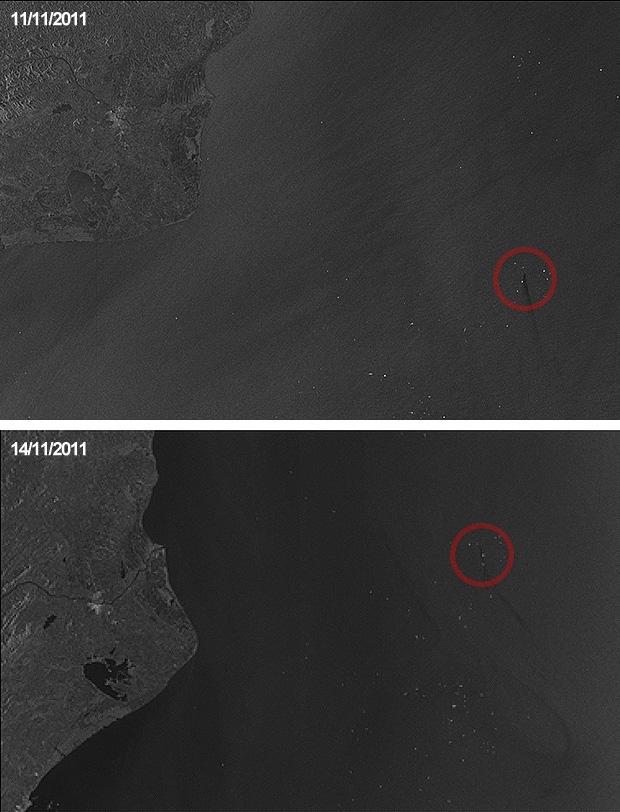 Vazamento Pelo Sensor Do óleo Fox Achado Com O Cel: Imagens De Satélite Europeu Mostram Petróleo Do
