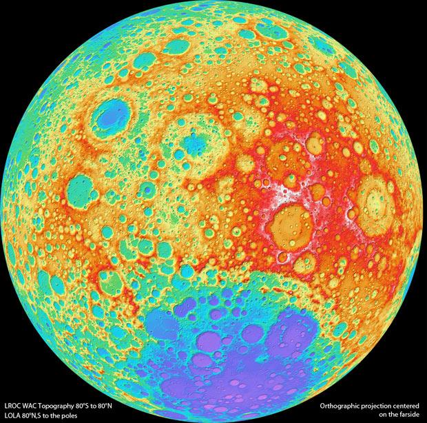 Mapa foi montado com informações da sonda LRO, lançada em junho de 2009 ao espaço. (Foto: Nasa / via BBC)
