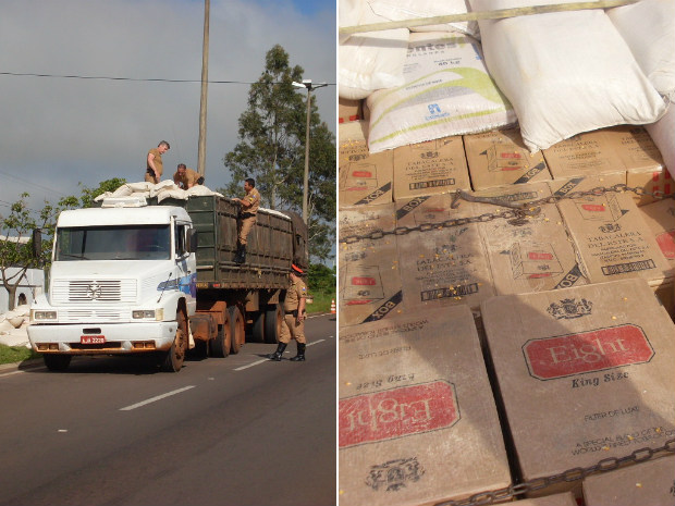Caminhão transportava alimentos e cigarros. (Foto: Divulgação)