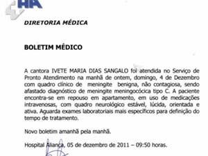 Boletim médico de Ivete Sangalo (Foto: Reprodução) (Foto: Reprodução)