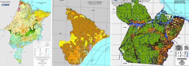 Da esquerda para a direita, novos mapas do Maranhão, Sergipe e Pará divulgados pelo IBGE nesta sexta-feira (Foto: Reprodução/IBGE)