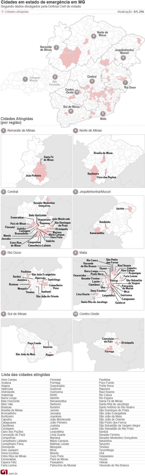 Mapa com 87 cidades em Situação de emergência em Minas Gerais (Foto: Editoria de Arte / G1)