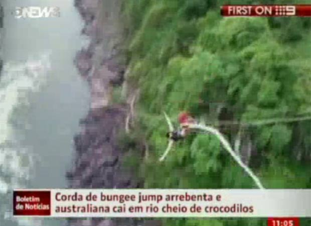 Erin Worth havia saltado de bungee jump de uma altura de 111 metros. (Foto: Reprodução/Globo News)