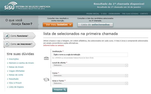 No site do Sisu é possível ver lista de aprovados por curso e instituição (Foto: Reprodução)