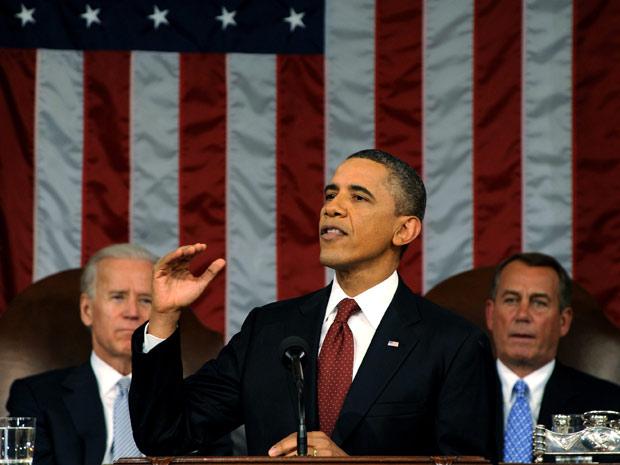 Presidente Barack Obama em discurso do Estado da União (Foto: Saul Loeb/Pool/Reuters)