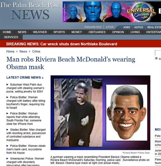Ladrão Rouba Restaurante Usando Máscara De Obama Nos