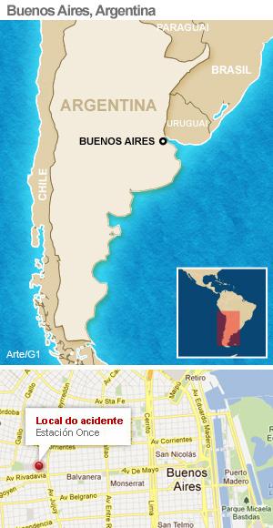 mapa acidente argentina (Foto: Arte G1)