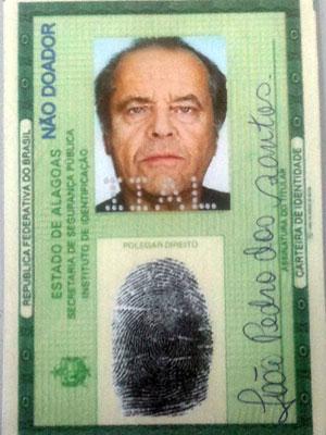 RG falso com foto de Jack Nicholson (Foto: Divulgação/Polícia Civil)