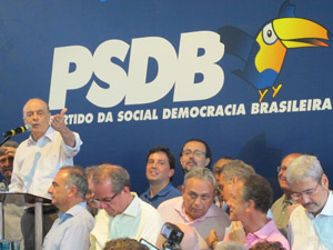 Serra discursa após anúncio do resultado das prévias do PSDB (Foto: Paulo Toledo Piza/G1)