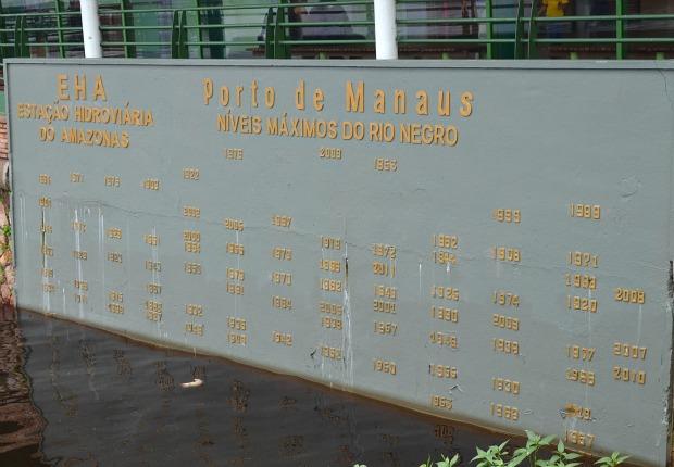 Régua de medição do rio Negro no Porto de Manaus  (Foto: Marina Souza/G1)