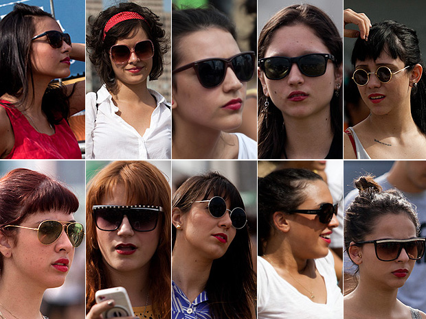 b5cfa3d255378 G1 - Batom vermelho e óculos retrô são  uniforme feminino  no ...