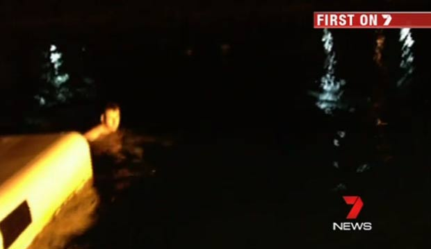 Trio invadiu o parque e foi filmado nadando com os golfinhos. (Foto: Reprodução/7 News)