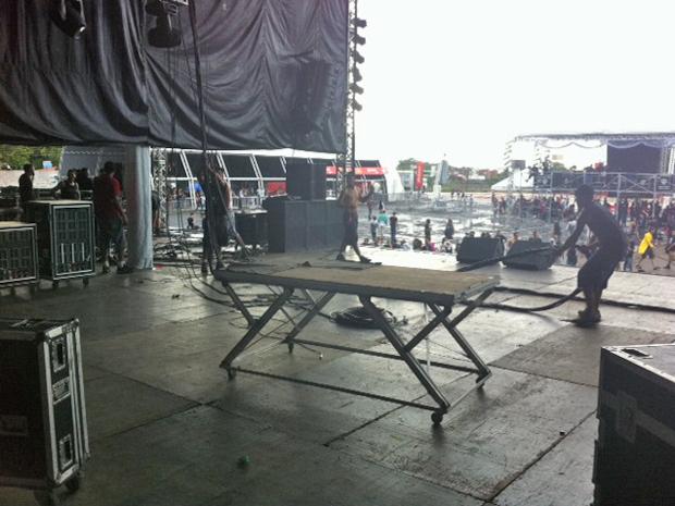 Palco Ronnie James Dio foi desmontado pela produção do Metal Open Air (Foto: Cauê Muraro/G1)
