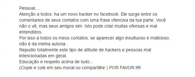 Facebook: existe um hacker postando comentários ofensivos em