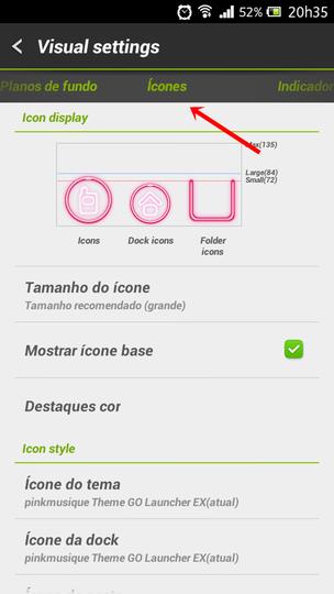 Configure os ícones do tema, da dock, de pasta e do menu clicando em