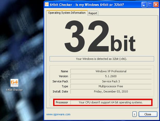 Processador não suporta 64 bits (Foto: Reprodução/TechTudo)