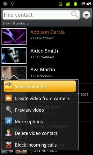 Adicionar vídeo ao contato (Foto: Divulgação)