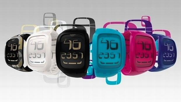 1ce21f23d3b Nova linha da Swatch sensível ao toque. (Foto  Engadget)