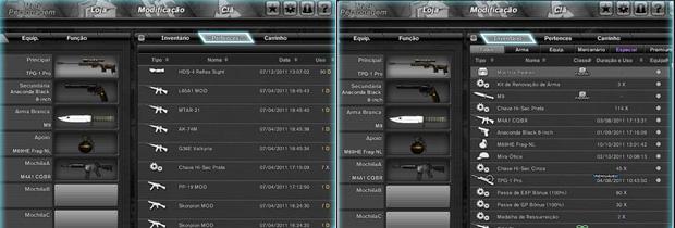023647daa2e Pertences e invetário do jogador no game Combat Arms (Foto  Reprodução)